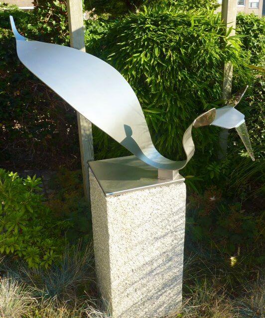 dierenbeeld vos sculptuur van RVS
