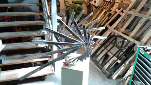 geometric abstract in construction-of stainless steel