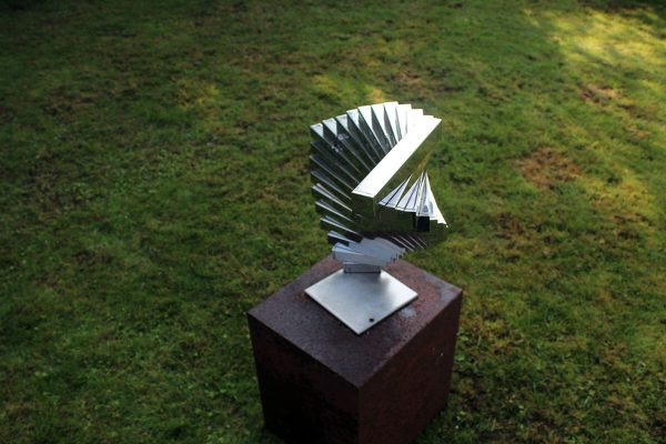 Rotation geometric sculpture made of stainless steel