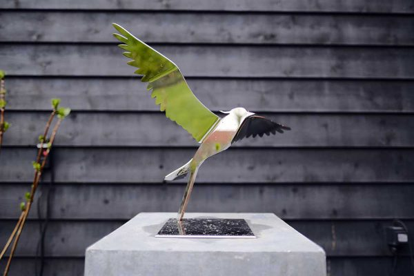 Stainless steel lapwing sculpture