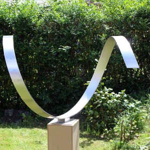 Wave Heart - abstract modern sculpture of stainless steel