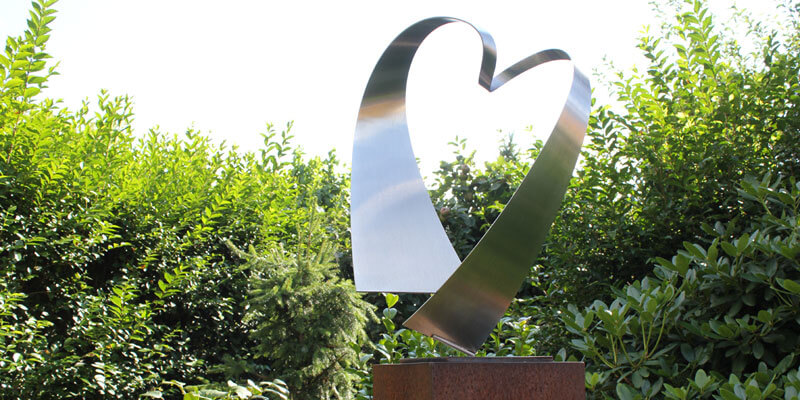 abstract stainless steel sculpture-of-a heart
