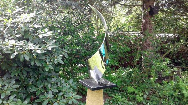 Abstract modern stainless steel garden sculpture