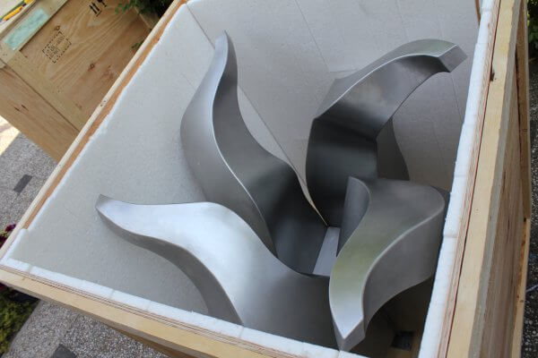 Stainless steel tulip sculpture ready for transport