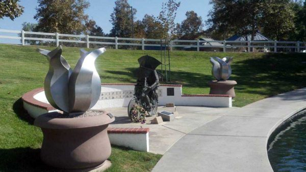 Commissioned art - stainless steel tulip sculptures on-pond in California