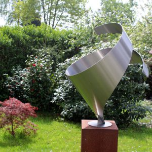 Modern stainless steel sculpture embrace