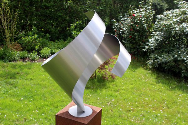 abstract stainless steel sculpture embrace