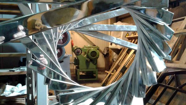 construction - geometric abstract in stainless steel construction