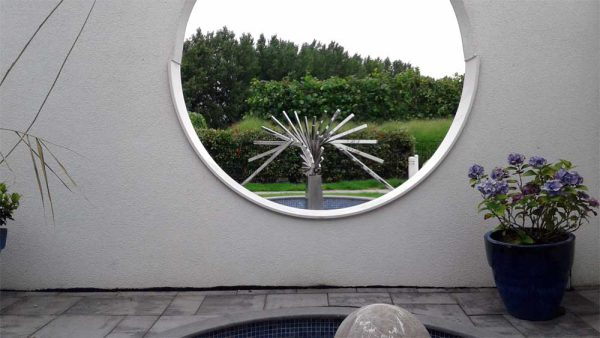 geometric-stainless steel sculpture -outside
