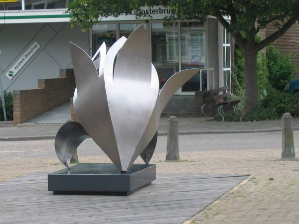 art-commissioned stainless steel artwork of a lily