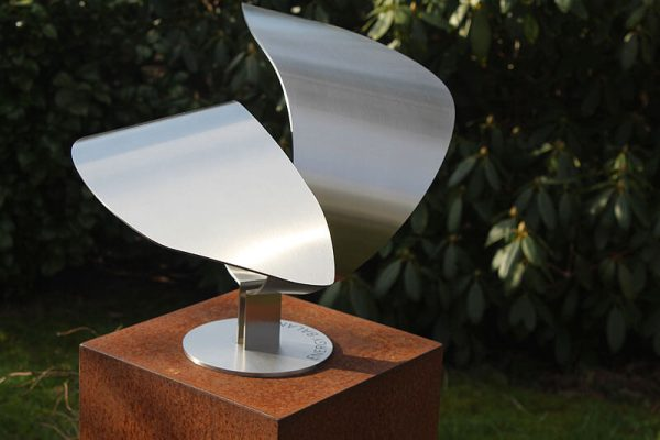 elegant abstract sculpture made of stainless steel