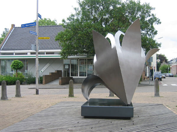 art-commissioned stainless steel Lily in public space