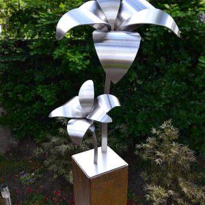 kunstwerk met twee lelies
