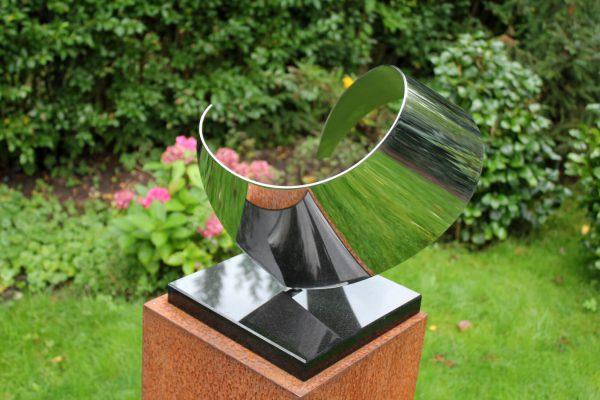 modern-abstract-stainless steel sculpture Wave outdoors