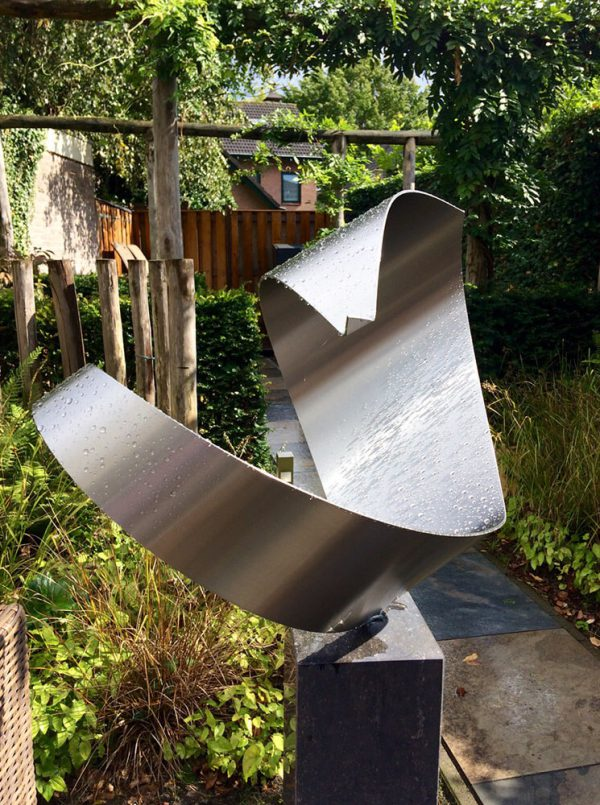 Contemporary abstract sculpture of stainless steel