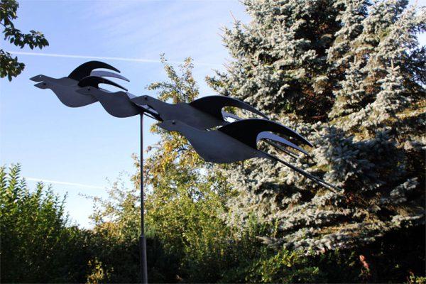 stainless steel garden sculpture - sculpture-bird's eye view