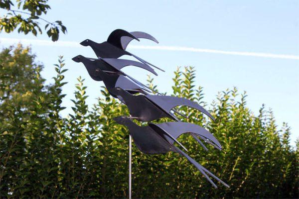 stainless steel garden statue - bird's eye view