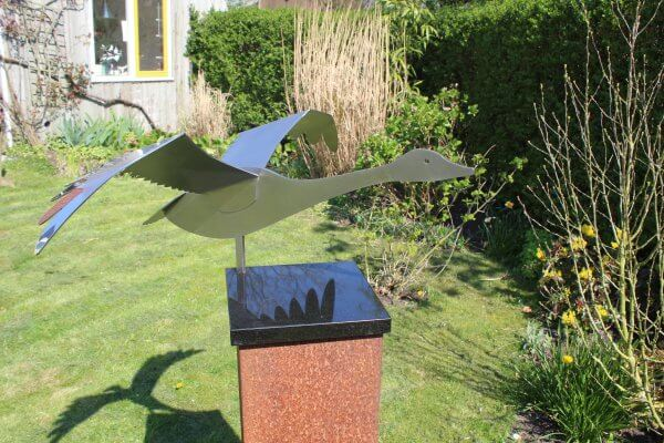Stainless steel image of a swan