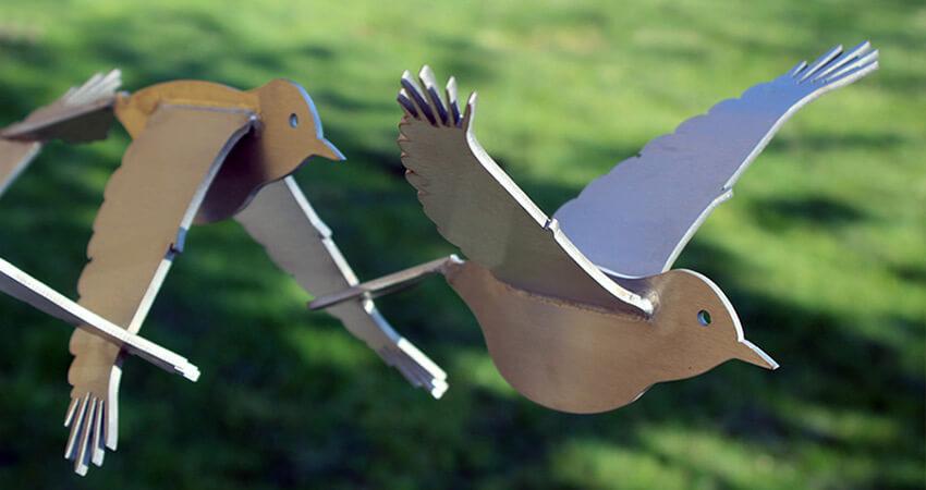 bird's eye view - stainless steel sculpture of birds