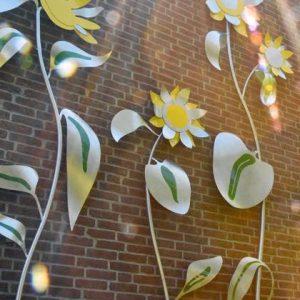 wand sculptuur RVS bloemen